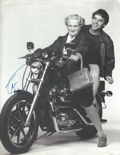 Robin Williams as Mrs Doubtfire and director Chris Columbus signed photo by Robin Williams, 1993
