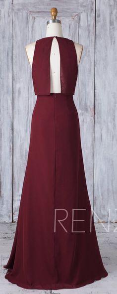 Bridesmaid Dress Maroon Chiffon Wedding Dress,Boat Neck Fitted Maxi Dress,Open Back Long Prom Dress,A Line Empire Waist Evening Dress