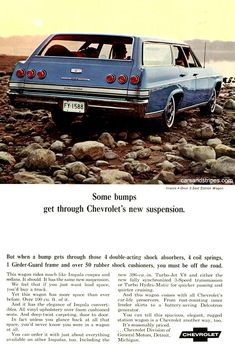 1965 Impala Wagon - Some bumps get through Chevrolet's new suspension - Original Ad Car Chevrolet, Chevrolet Impala, Classic Chevrolet, Vintage Advertisements, Vintage Ads, Car Brochure, Ad Car, Volkswagen, Car Advertising