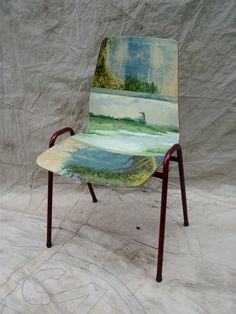 ONE OF A KIND PAINTING CHAIR - Marshlands Imagine a favorite canvas sliding off the wall and seeping over your dining table or chairs... Mid Centur...
