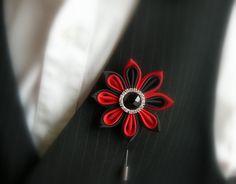 Men's Flower Lapel Pin. Kanzashi fabric flower brooch . by JuLVa