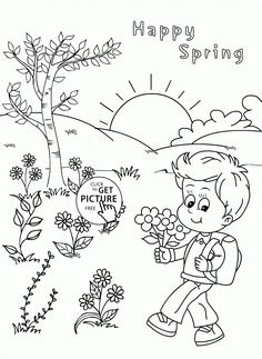 Happy Spring Coloring Page Kids Crafts Coloring TurtleDiary