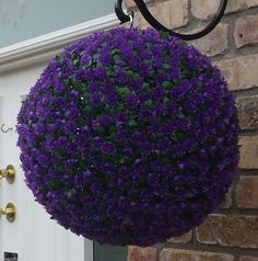 artificial purple rose topiary ball - The Artificial Flowers Company - Modern Design Artificial Hanging Baskets, Artificial Topiary, Artificial Plants, Window Box Flowers, Hanging Flowers, Window Boxes, Modern Flower Arrangements, Artificial Flower Arrangements, Flower Ball