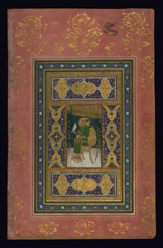 Shah Jahan enthroned and holding a falcon 19th' album