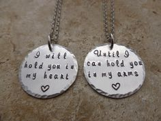Long Distance Relationship Hand Stamped Jewelry Set I will hold you in my heart LDR going away Love going away gift deployment matching set by thelightandthedark1 on Etsy https://www.etsy.com/listing/160966490/long-distance-relationship-hand-stamped