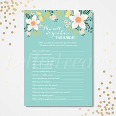 How Well Do You Know The Bride, Who Knows The Bride Best, Wedding Shower, Bridal Party Game- SKUHDG09 by hellodreamstudio on Etsy
