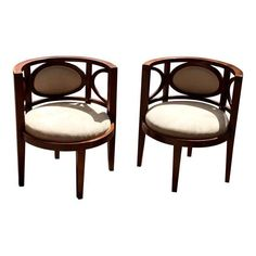 Image of Modern Barrel Back Chairs - Pair