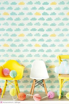 Casadeco wallpaper with clouds Nuages (blue) Casadeco Wallpaper, Kids Room Wallpaper, Colorful Wallpaper, Wallpaper Ideas, Children Wallpaper, Bedroom Wallpaper, White Wallpaper, Girl Room, Baby Room