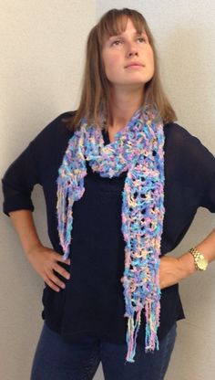 Turquoise, Yellow, Pink and blue multi-color long scarf by crochet4mybutterfly. Explore more products on http://crochet4mybutterfly.etsy.com