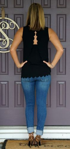 Stitch Fix Papermoon Violeta Scallop Detail Blouse - love the scalloped edges and open back!: