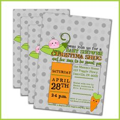 Pea Pod Baby Shower Invitations  Set of 12  Pea in a by LullabyLoo, $18.00
