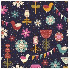 floral gift wrap by Dina Khandy, via Behance