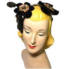 Crown of Flowers Pink Silk and Black Velvet Metallic Thread Leaves circa 1920s