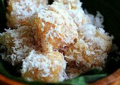 Steamed cassava with shredded coconut
