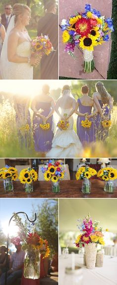 Rustic Sunflower Wedding with Pops of Color - FiftyFlowers Review - #WholesaleFlowers #Wedding Flowers #FiftyFlowers