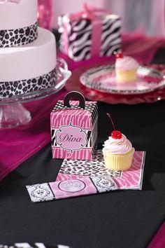Hot Pink Zebra Lil Diva Birthday Party Hat by SandysSpecialtyShop