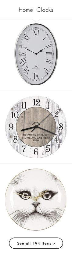 """Home, Clocks"" by sheri-gifford-pauline ❤ liked on Polyvore featuring home, home decor, clocks, silver, silver clock, inspirational home decor, white clock, silver home decor, oval clock and battery operated clocks"