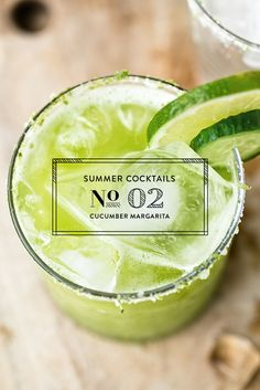Want to switch up your margarita this summer? Try this cucumber margarita recipe from Luvo for a refreshing take on this classic drink. Summer Cocktails, Cocktail Drinks, Cocktail Recipes, Cucumber Margarita, Margarita Recipes, Taco Bar, Easy Drink Recipes, Summertime Drinks, Healthy Detox