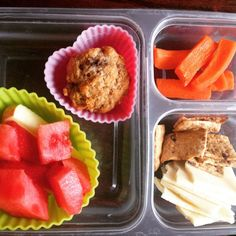 School lunch: homemade banana muffin (from freezer), organic carrot sticks, @backtonaturesnacks sweet potato crackers and organic jack cheese, organic watermelon and pink lady apples. #schoollunch #healthykids #healthytips #muffin #homemade #watermelon #SuperStartsHere