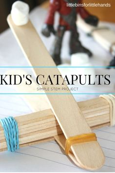 Build an easy popsicle stick catapult for a simple STEM activity for kids. A catapult is a great physics science experiment and engineering activity for kids. Try a catapult building activity for a kid's STEM project or science activity.