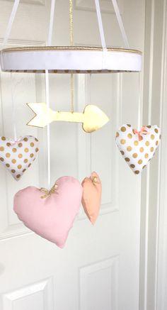 SALE-Metallic Gold Arrow Heart Nursery MobileHeart by MemeFleury