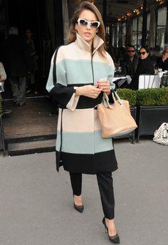 Jessica Alba wearing DIANE VON FURSTENBERG Bianca Pumps Chloe Baylee Perforated Satchel