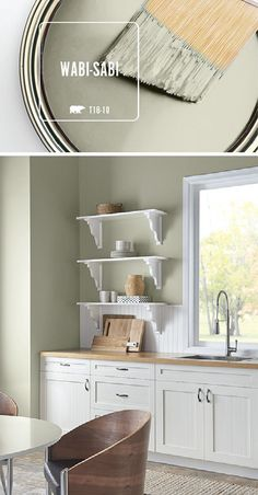 This kitchen is filled with natural light thanks to a fresh coat of BEHR Paint in Wabi-Sabi. When paired with light wood and bright white accents, this soft green hue helps to create a calming, natural color palette. Wabi-Sabi is part of the BEHR 2018 Col Green Paint Colors, Kitchen Paint Colors, Interior Paint Colors, Paint Colors For Home, House Colors, Interior Design, Behr Paint Colors, Bright Kitchen Colors, Behr Exterior Paint Colors