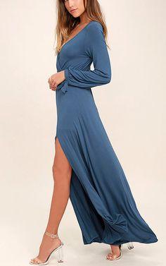 Just The Thing Slate Blue Long Sleeve Maxi Dress via @bestchicfashion