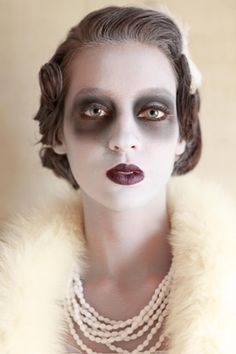 Halloween Costume mixed with a love of vintage: ghost makeup and dark lips with vintage clothing and accessories. Pretty lovely and creative.