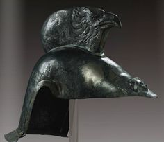 Roman bronze helmet, circa 1st century CE. This may be a cavalry helmet, it's missing its cheekpieces and/or mask.