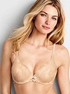 0c0d8794d85a6 Worn by   Angel Jessica Hart Type   Body by Victoria Perfect Coverage Bra  Color   Champagne Foil Lace