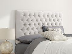 White crushed velvet - button back headboard