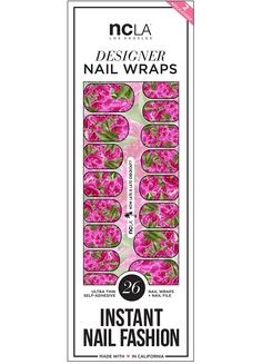 How Late Is Late Checkout? nail wraps from our Downtown Resort collection featuring a gorgeous pink rose pattern with green accents. NCLA Spring 2016 nail art ideas, easy and quick self adhesive nail wraps, DIY detailed flowers