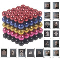 125pcs 5mm DIY Buckyballs Neocube Magic Beads Magnetic Toy Black & Dark Blue & Red & Rose Red & Golden.  Check this out at the Tmart link on MomTheShopper.