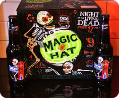 magic hat beer - Will NOT throw this box away.  Sprayed it with polyurethane. :)