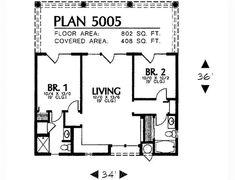 Adobe / Southwestern Style House Plan - 2 Beds 2 Baths 802 Sq/Ft Plan #4-225 Floor Plan - Main Floor Plan - Houseplans.com