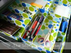 Messy Desk Dilemma solved! How to use cereal boxes and wrapping paper to organize your study space.