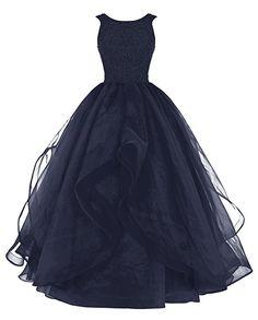 Dresstells® Long Prom Dress Asymmetric Bridesmaid Dress Beaded Organza Gown Navy Size 20W