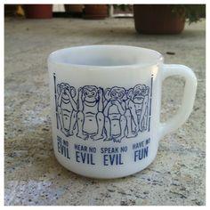 VTG Federal Glass Co. Milk Glass Coffee Mug - See, Hear, Speak No Evil Monkies 1970s. $15.00, via Etsy.
