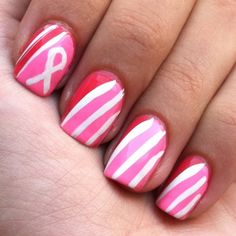 Pink Breast Cancer Awareness manicure