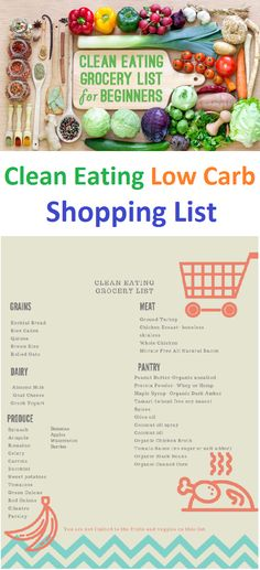 Clean eating low carb shopping list - healthy food