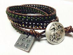 I Love my Marine Triple Wrap Bracelet by JennyPennyCreations, $45.00