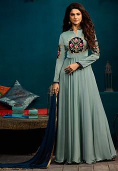 492b54702a8b4 Readymade Satin Georgette Abaya Style Kameez in Dusty Blue This Chinese  Collar Neck and Full Sleeve