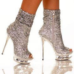 Silver Sequin Bootie Shoes!