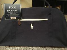 7a3177edeb Ralph Lauren The WORLD of POLO Hand Bag Duffle Man Weekender blue white  brown  fashion
