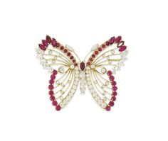 A ruby and diamond butterfly brooch