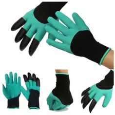 Garden Genie Gloves For Digging Planting Gardening Glove With Abs Plastic Claws Claw Gloves, Safety Gloves, Protective Gloves, Plant Markers, Gardening Gloves, Gardening Tools, Gardening Hacks, Work Gloves, Easy Garden