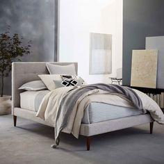 Grid-Tufted Upholstered Tapered Leg Bed | west elm CA