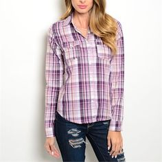 Adorable lilac and pink plaid button down shirt! Arriving Friday! Tops Button Down Shirts