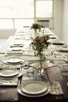 I have always wanted to have a long table to have a real family dinner at, a white dinner set is easy to match, replace, break and enjoy ... so no need for more, just eat and enjoy the big table dinner with family and friends